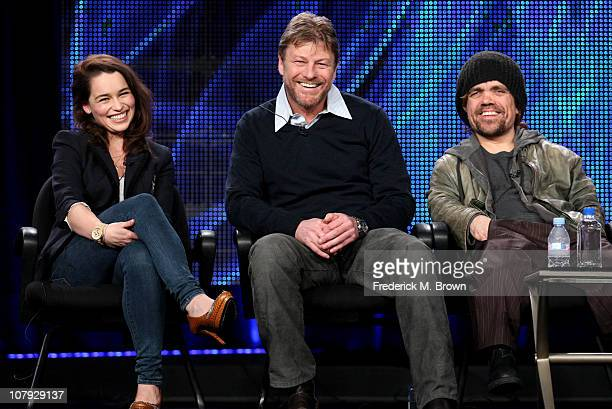 Actors Emilia Clarke Sean Bean and Peter Dinklage speak during the 'Game of Thrones' panel at the HBO portion of the 2011 Winter TCA press tour held...