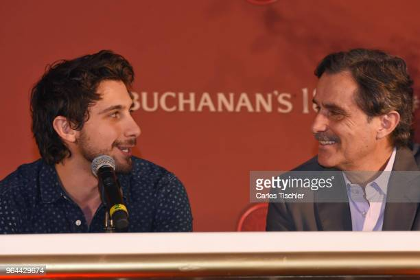 Actors Emiliano Zurita and his father Humberto Zurita smile during a press conference organized by Buchanan's Whiskey as part of a campaign to...