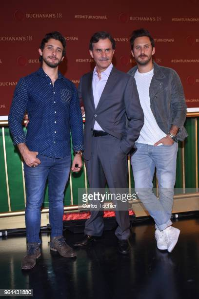 Actors Emiliano Zurita Sebastian Zurita and Humberto Zurita pose during a press conference organized by Buchanan's Whiskey as part of a campaign to...