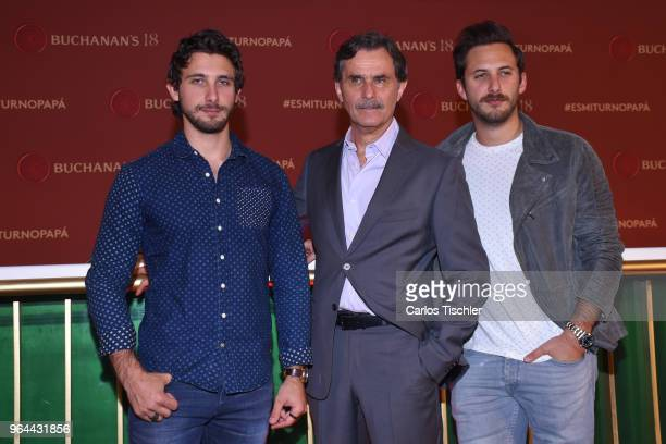 Actors Emiliano Zurita Sebastian Zurita and Humberto Zurita poses for photos during a press conference organized by Buchanan's Whiskey as part of a...