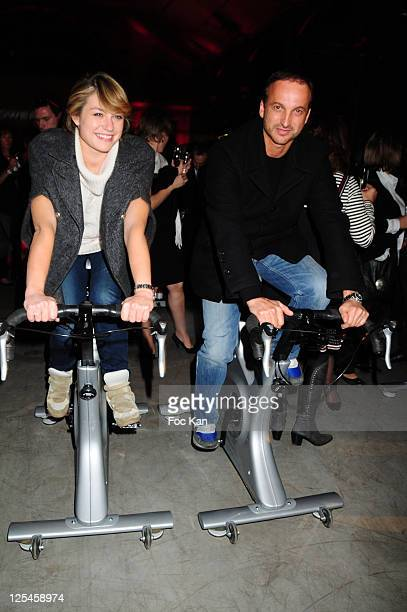 Actors Emilie Dequenne and Michel Ferracci attend the 10th Aniversary of Power plate and the 'Power Bike' Launch Party at Le 104 on October 7, 2010...