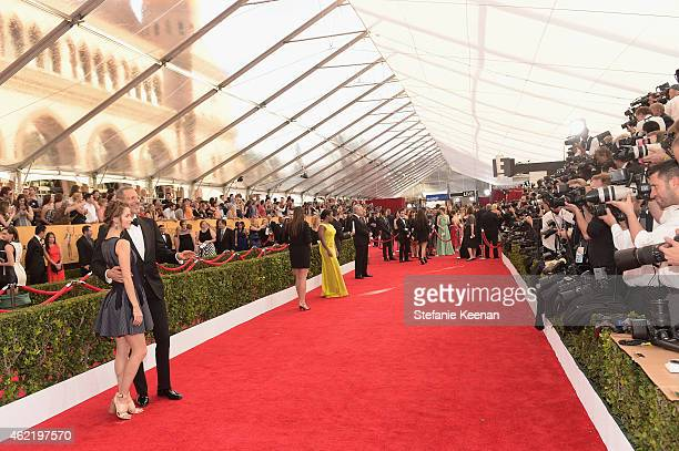 Actors Emilie Livingston and Jeff Goldblum attend TNT's 21st Annual Screen Actors Guild Awards at The Shrine Auditorium on January 25 2015 in Los...