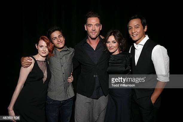Actors Emily Beecham Aramis Knight Marton Csokas Orla Brady and Daniel Wu of Into the Badlands attend the AMC TCA panel at The Beverly Hilton Hotel...