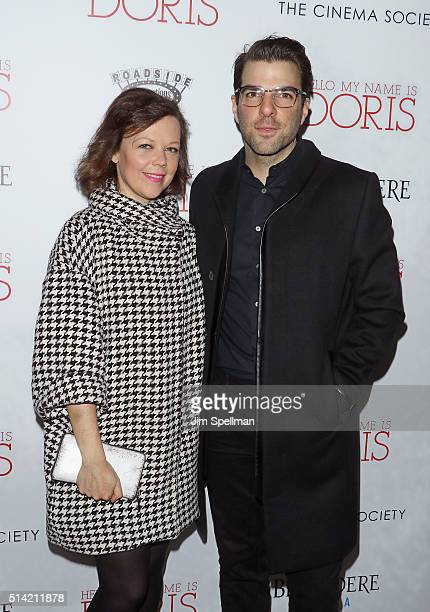 Actors Emily Bergl and Zachary Quinto attend Roadside Attractions with The Cinema Society Belvedere Vodka host The New York premiere of 'Hello My...