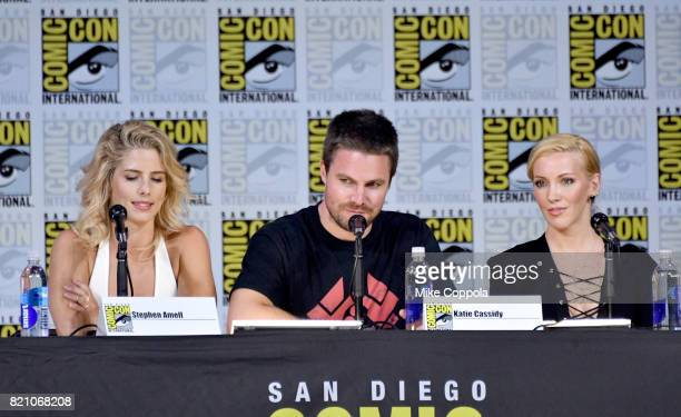 Actors Emily Bett Rickards Stephen Amell and Katie Cassidy attend the Arrow Video Presentation And QA during ComicCon International 2017 at San Diego...