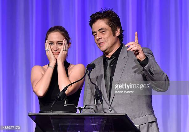 Actors Emily Blunt and Benicio Del Toro accept grant on behalf of AFI Cinematheque UCLA and NYU onstage during HFPA Annual Grants Banquet at the...