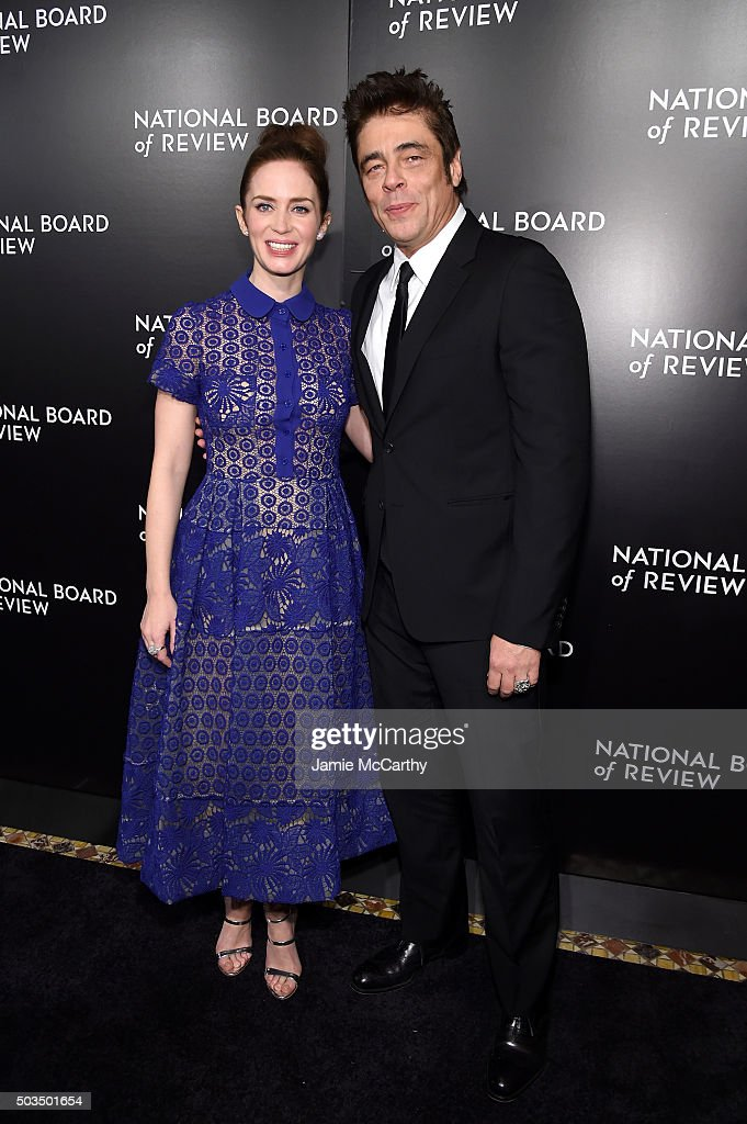 Actors Emily Blunt and Benicio del Toro attend 2015 National Board of Review Gala at Cipriani 42nd Street on January 5, 2016 in New York City.