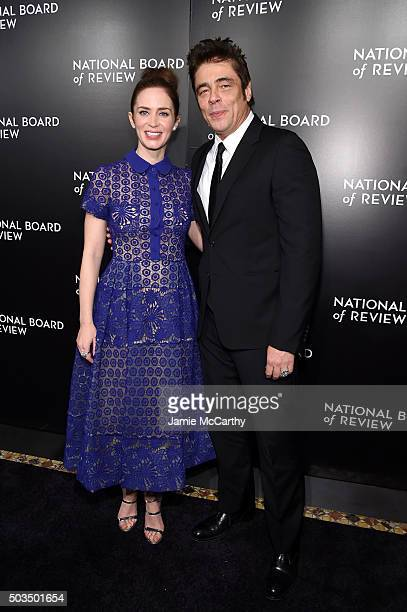 Actors Emily Blunt and Benicio del Toro attend 2015 National Board of Review Gala at Cipriani 42nd Street on January 5 2016 in New York City