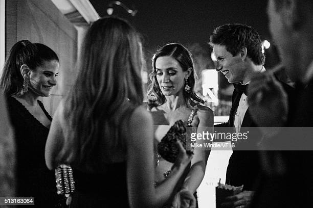 Actors Emily Blunt and Eddie Redmayne attend the 2016 Vanity Fair Oscar Party Hosted By Graydon Carter at the Wallis Annenberg Center for the...