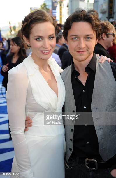 Actors Emily Blunt and James McAvoy arrive at the Los Angeles premiere of 'Gnomeo and Juliet' at the El Capitan Theatre on January 23 2011 in...