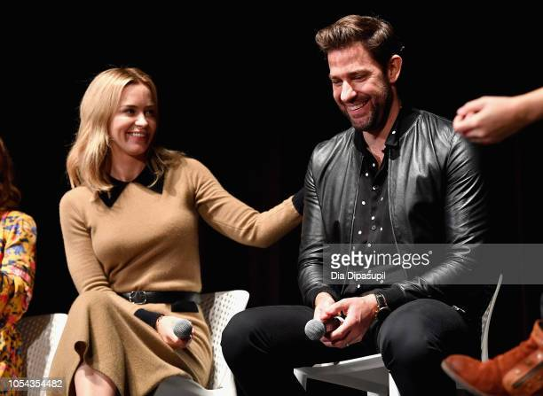 "Actors Emily Blunt and John Kransinski speak onstage during the ""A Quiet Place"" QA at 21st SCAD Savannah Film Festival on October 27 2018 in Savannah..."