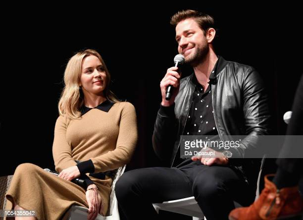 """Actors Emily Blunt and John Kransinski speak onstage during the """"A Quiet Place"""" QA at 21st SCAD Savannah Film Festival on October 27 2018 in Savannah..."""