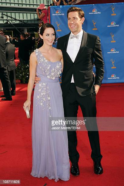 Actors Emily Blunt and John Krasinski arrive at the 62nd Annual Primetime Emmy Awards held at the Nokia Theatre LA Live on August 29 2010 in Los...