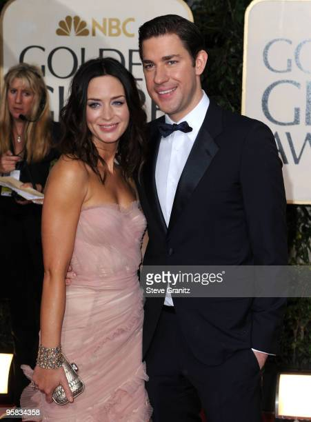 Actors Emily Blunt and John Krasinski arrive at the 67th Annual Golden Globe Awards at The Beverly Hilton Hotel on January 17, 2010 in Beverly Hills,...