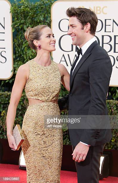 Actors Emily Blunt and John Krasinski arrive at the 70th Annual Golden Globe Awards held at The Beverly Hilton Hotel on January 13 2013 in Beverly...
