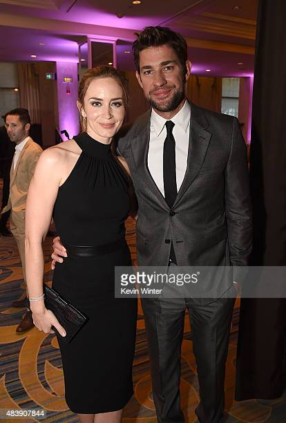 Actors Emily Blunt and John Krasinski attend HFPA Annual Grants Banquet at the Beverly Wilshire Four Seasons Hotel on August 13 2015 in Beverly Hills...