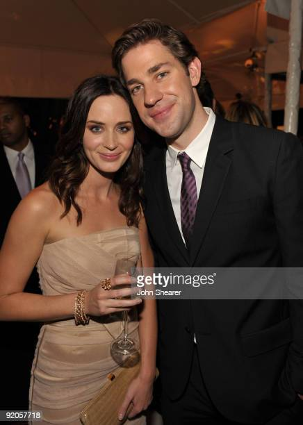 Actors Emily Blunt and John Krasinski attend the 16th Annual ELLE Women in Hollywood Tribute at the Four Seasons Hotel on October 19 2009 in Beverly...