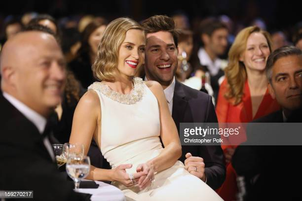 Actors Emily Blunt and John Krasinski attend the 18th Annual Critics' Choice Movie Awards held at Barker Hangar on January 10, 2013 in Santa Monica,...