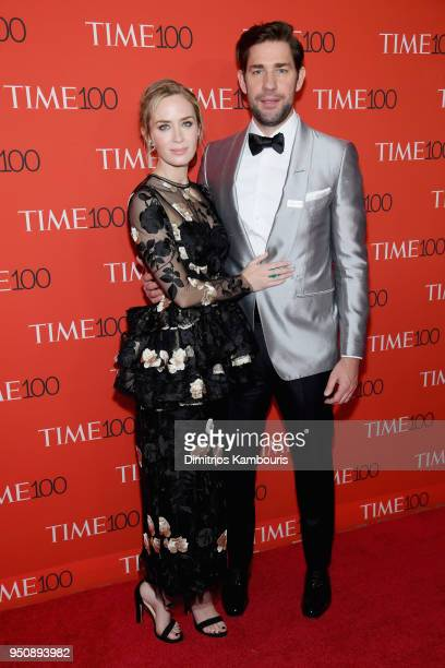 Actors Emily Blunt and John Krasinski attend the 2018 Time 100 Gala at Jazz at Lincoln Center on April 24 2018 in New York City
