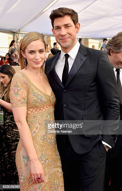 Actors Emily Blunt and John Krasinski attend The 23rd Annual Screen Actors Guild Awards at The Shrine Auditorium on January 29 2017 in Los Angeles...