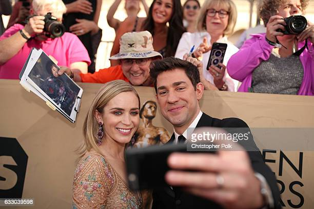 Actors Emily Blunt and John Krasinski attend The 23rd Annual Screen Actors Guild Awards at The Shrine Auditorium on January 29, 2017 in Los Angeles,...