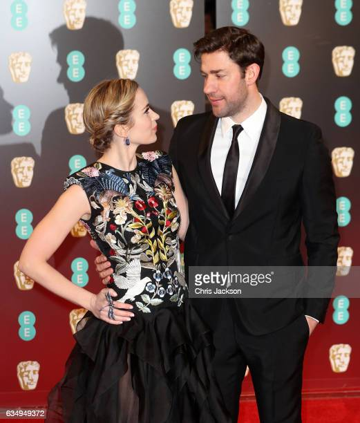 Actors Emily Blunt and John Krasinski attend the 70th EE British Academy Film Awards at Royal Albert Hall on February 12 2017 in London England