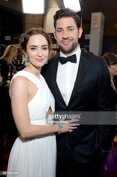 Actors Emily Blunt and John Krasinski attend the 72nd Annual Golden Globe Awards at The Beverly Hilton Hotel on January 11 2015 in Beverly Hills...