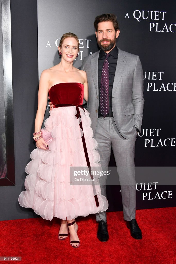 Actors Emily Blunt and John Krasinski attend the 'A Quiet Place' New York Premiere at AMC Lincoln Square Theater on April 2, 2018 in New York City.