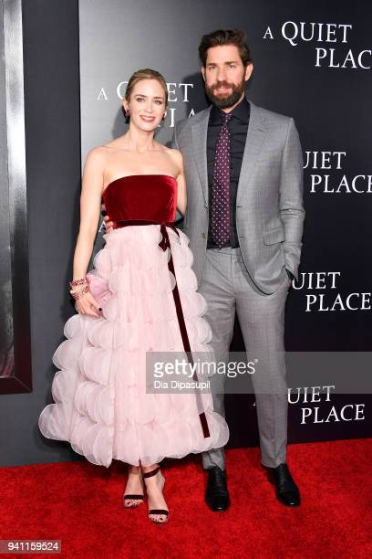Actors Emily Blunt and John Krasinski attend the A Quiet Place New York Premiere at AMC Lincoln Square Theater on April 2 2018 in New York City