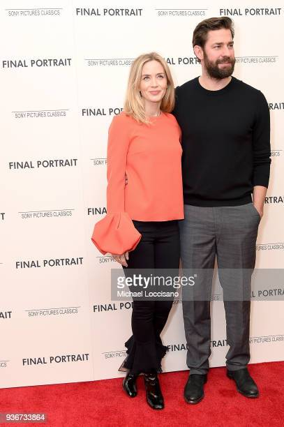 Actors Emily Blunt and John Krasinski attend the 'Final Portrait' New York Screening at Guggenheim Museum on March 22, 2018 in New York City.