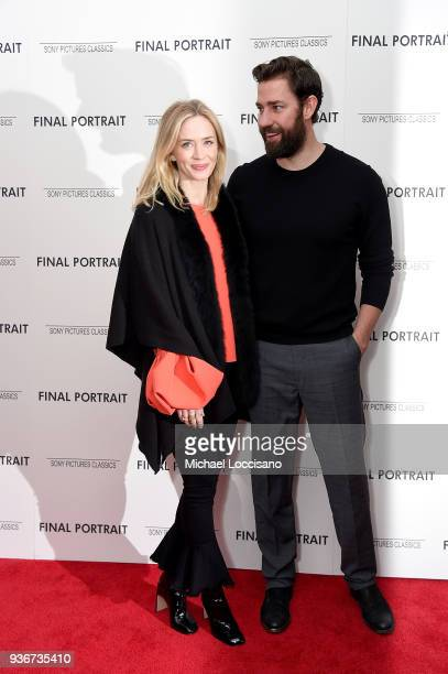 Actors Emily Blunt and John Krasinski attend the 'Final Portrait' New York Screening at Guggenheim Museum on March 22 2018 in New York City