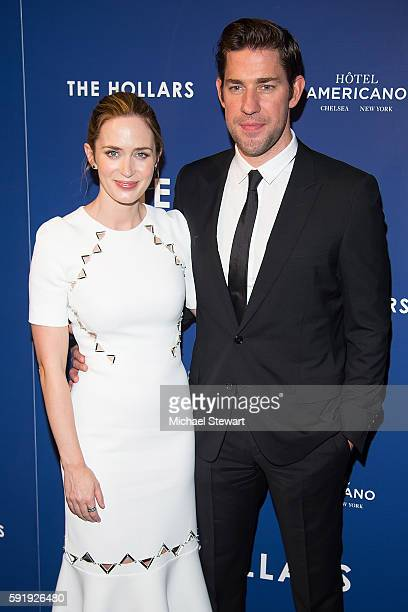 Actors Emily Blunt and John Krasinski attend 'The Hollars' New York screening at Cinepolis Chelsea on August 18 2016 in New York City