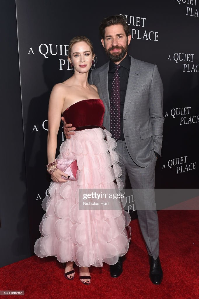 Actors Emily Blunt (L) and John Krasinski attend the Paramount Pictures New York Premiere of 'A Quiet Place' at AMC Lincoln Square theater onApril 2, 2018 in New York, New York.