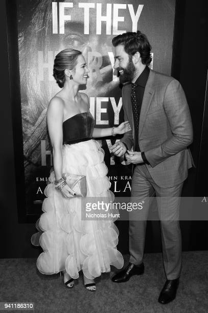 Actors Emily Blunt and John Krasinski attend the Paramount Pictures New York Premiere of 'A Quiet Place' at AMC Lincoln Square theater onApril 2...