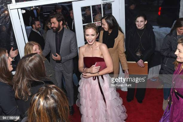 Actors Emily Blunt and John Krasinski attend the Paramount Pictures New York Premiere of 'A Quiet Place' at AMC Lincoln Square theater on April 2...