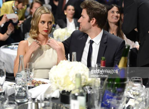 Actors Emily Blunt and John Krasinski attends the Critics' Choice Movie Awards 2013 with Skinnygirl Cocktails at Barkar Hangar on January 10 2013 in...