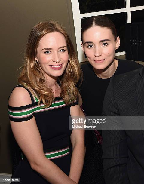 Actors Emily Blunt and Rooney Mara attend VANITY FAIR and Barneys New York Dinner benefiting OXFAM hosted by Rooney Mara at Chateau Marmont on...