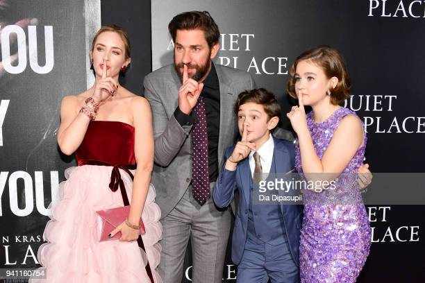 Actors Emily Blunt John Krasinski Noah Jupe and Millicent Simmonds attend the 'A Quiet Place' New York Premiere at AMC Lincoln Square Theater on...
