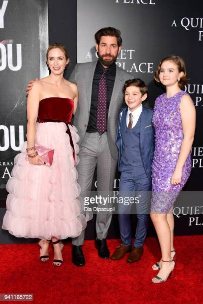 Actors Emily Blunt John Krasinski Noah Jupe and Millicent Simmonds attend the A Quiet Place New York Premiere at AMC Lincoln Square Theater on April...