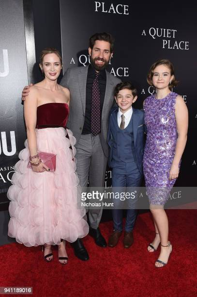 Actors Emily Blunt John Krasinski Noah Jupe and Millicent Simmonds attend the Paramount Pictures New York Premiere of 'A Quiet Place' at AMC Lincoln...