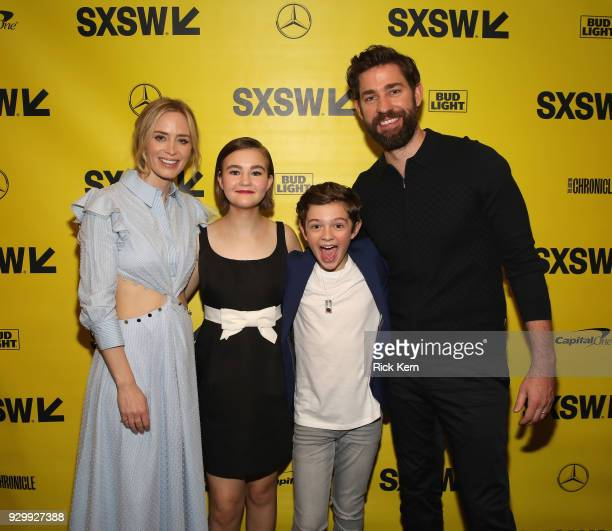 Actors Emily Blunt Millicent Simmonds Noah Jupe and director John Kransinski attend the Opening Night Screening and World Premiere of 'A Quiet Place'...