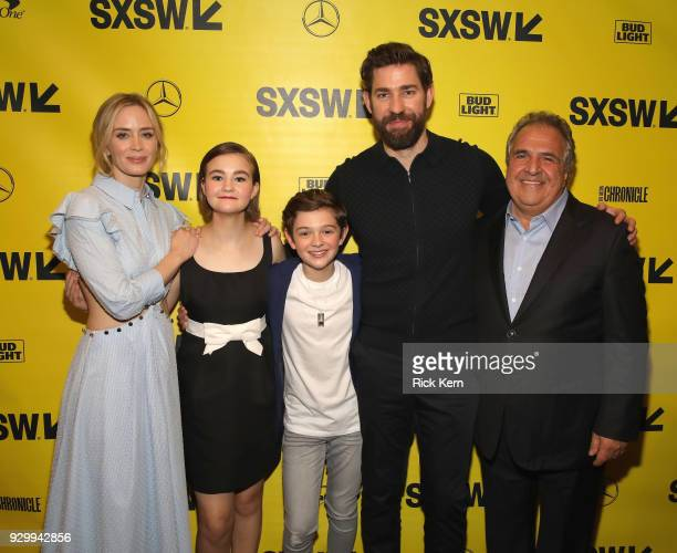 Actors Emily Blunt Millicent Simmonds Noah Jupe director John Kransinski and Jim Gianopulos attend the Opening Night Screening and World Premiere of...