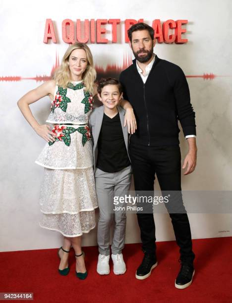 Actors Emily Blunt Noah Jupe and actor and director John Krasinski attend 'A Quiet Place' screening at the Curzon Soho on April 5 2018 in London...