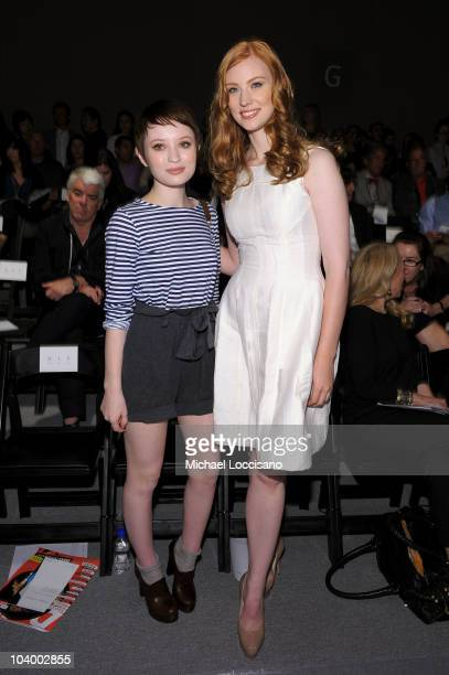 Actors Emily Browning and Deborah Ann Woll attend the Prabal Gurung Spring 2011 fashion show during MercedesBenz Fashion Week at The Studio at...