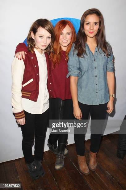 Actors Emily Browning Juno Temple and Catalina Sandino Moreno attend Day 4 of the Variety Studio at 2013 Sundance Film Festival on January 22 2013 in...