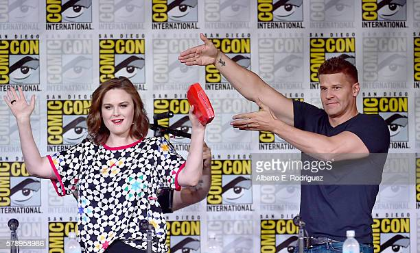 Actors Emily Deschanel and David Boreanaz attend the 'Bones' panel during ComicCon International 2016 at San Diego Convention Center on July 22 2016...