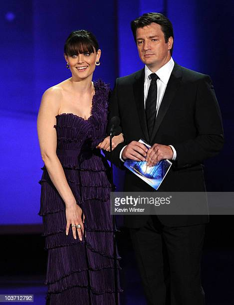 Actors Emily Deschanel and Nathan Fillion speak onstage at the 62nd Annual Primetime Emmy Awards held at the Nokia Theatre LA Live on August 29 2010...