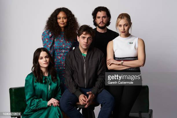 Actors Emily Hampshire Thandie Newton filmmaker Xavier Dolan and actors Kit Harington and Sarah Gadon from the film 'The Death and Life of John F...