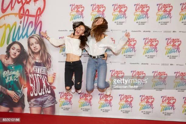 Actors Emily Kusche and Flora Li Thiemann attend the 'Tigermilch' premiere at Kino in der Kulturbrauerei on August 15 2017 in Berlin Germany