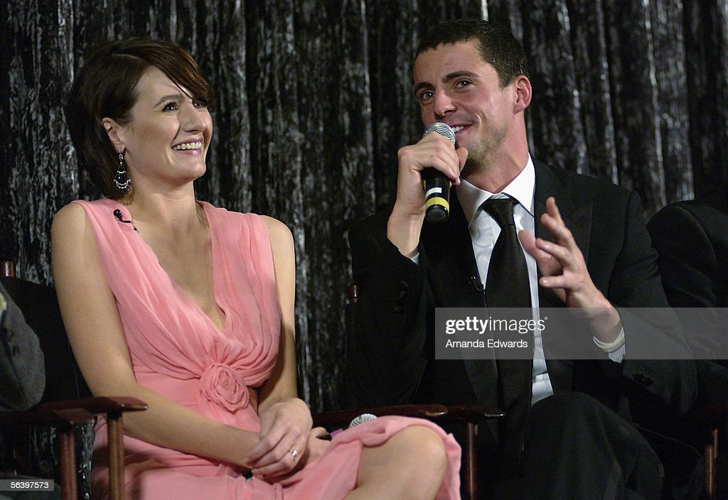 Actors Emily Mortimer and Matthew Goode participate in a Q&A session at the Variety Screening Series of 'Match Point' at the Arclight Theaters on December 8, 2005 in Hollywood, California.